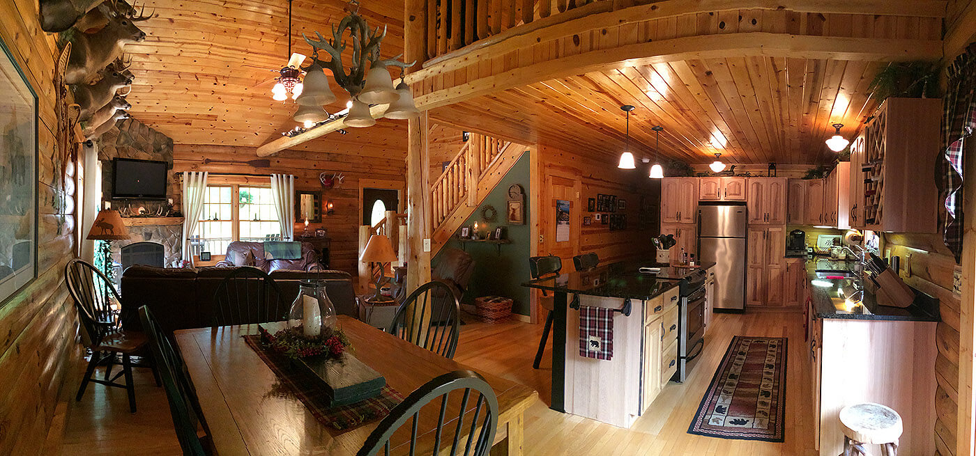 Interior log home open floor plan hidden valley log homes for Open floor plans log homes
